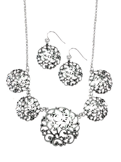 Silver Filigree Circle Necklace Set - Lunga Vita Designs