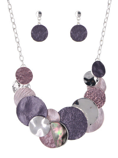 Multicolored Disk Statement Necklace Set | Silver Purple - Lunga Vita Designs