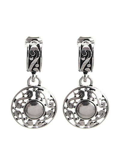 SILVER FILIGREE CIRCLE CLIP ON EARRINGS