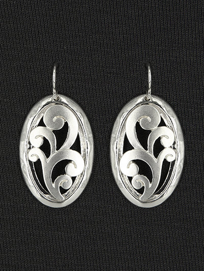 Matte Oval Filigree Silver Dangle Earrings - Lunga Vita Designs