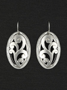 MATTE OVAL FILIGREE DANGLE EARRINGS
