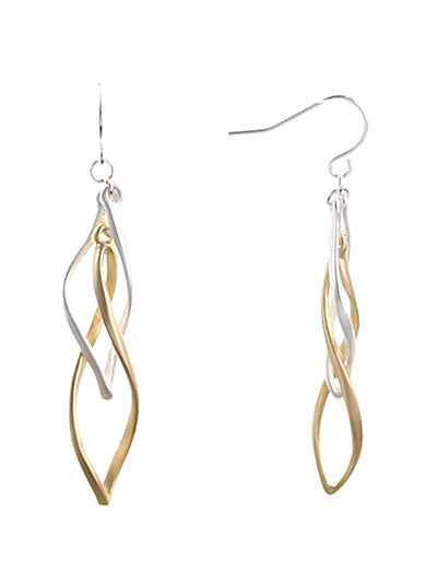 Twisted Oval Matte Silver & Gold Dangle Earrings - Lunga Vita Designs