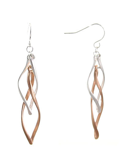 Twisted Oval Matte Silver & Rose Gold Dangle Earrings - Lunga Vita Designs