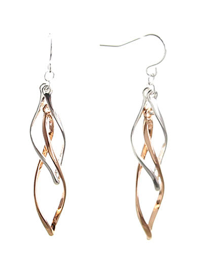 Twisted Oval Silver & Rose Gold Dangle Earrings - Lunga Vita Designs