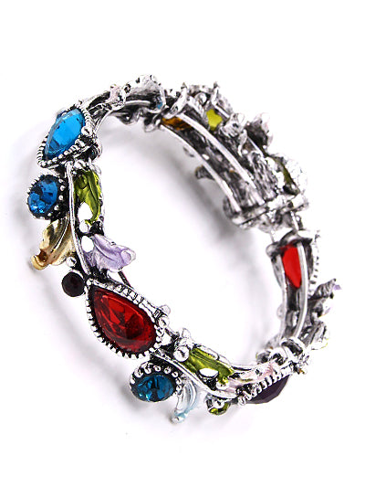 Floral Colorful Resin & Rhinestone Bangle Bracelet | Multicolor | Silver - Lunga Vita Designs