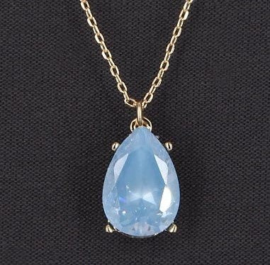 CZ TEARDROP PENDANT NECKLACE | BLUE