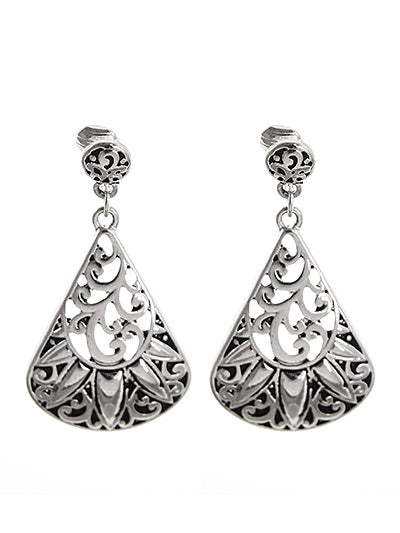 Silver Filigree Fan Shaped Clip-On Earrings - Lunga Vita Designs