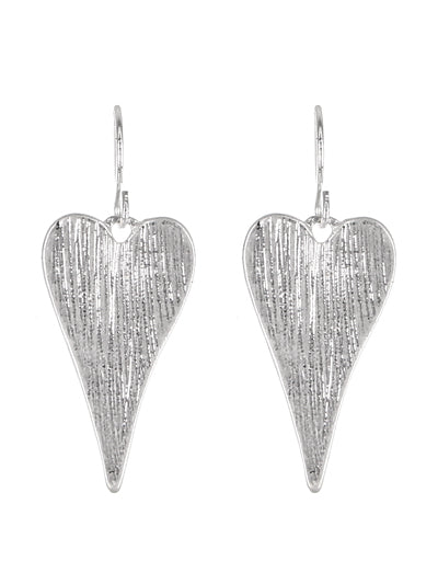 Elongated Worn Silver Heart Dangle Earrings - Lunga Vita Designs
