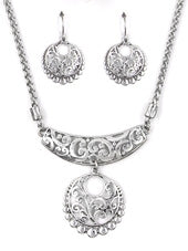Silver Textured Half Circle Statement Necklace Set - Lunga Vita Designs