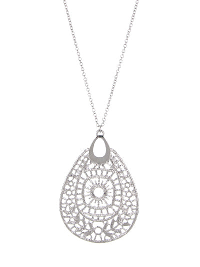 LONG TEARDROP LACE PENDANT NECKLACE | SILVER