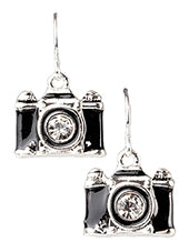 Black and Silver Camera Necklace with Rhinestone Lens - Lunga Vita Designs