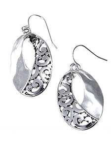 Oval Two Texture Silver Dangle Earrings - Lunga Vita Designs