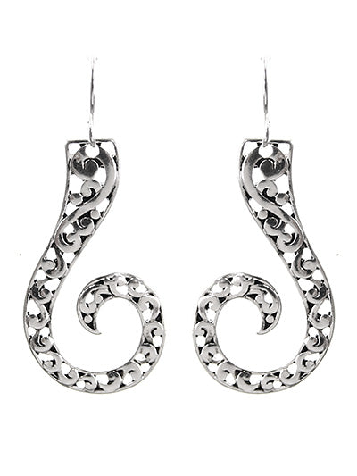Textured Silver Curl Dangle Earrings - Lunga Vita Designs