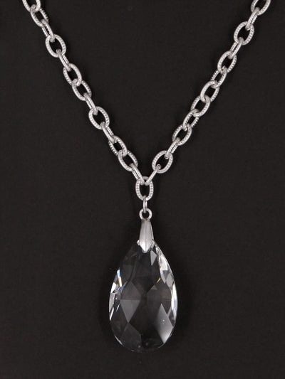 Clear Crystal Faceted Teardrop Necklace with Worn Silver Link Chain - Lunga Vita Designs