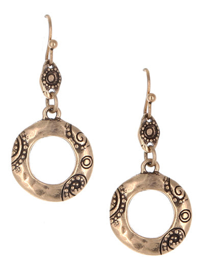 Burnished Gold Paisley Circle Dangle Earrings - Lunga Vita Designs