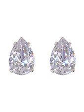 Clear Cubic Zirconia Teardrop Post Earrings - Lunga Vita Designs