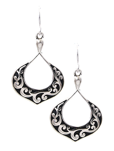 Open Circle Silver and Black Filigree Dangle Earrings - Lunga Vita Designs