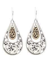 THREE TONE FILIGREE TEARDROP EARRINGS