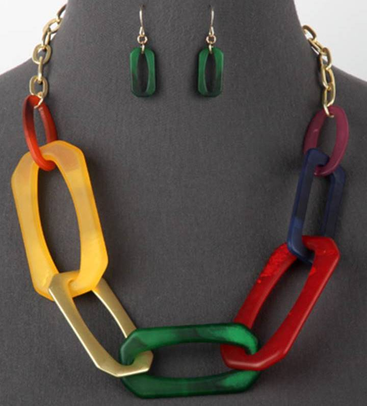 Large Link Lucite Necklace Set With Matching Link Earrings | Multicolor - Lunga Vita Designs
