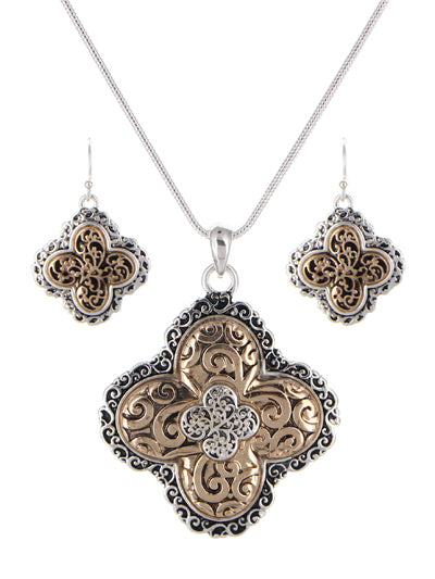Filigree Tailored Necklace Set | Two-Tone - Lunga Vita Designs