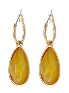 FACETED TEARDROP DANGLE EARRINGS | GOLDEN YELLOW
