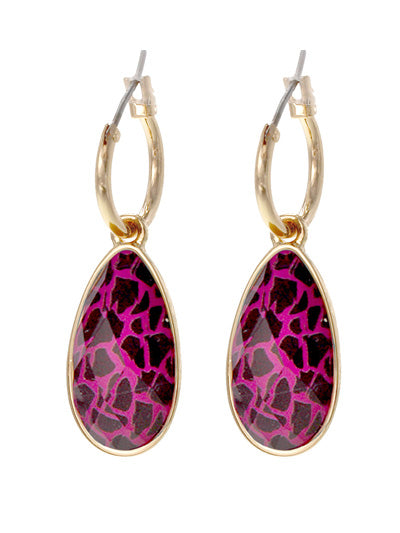 Animal Print Teardrop Dangle Earrings | Fuschia - Lunga Vita Designs