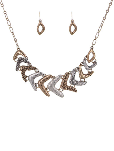 Abstract Patterned Worn Multi Tone Necklace and Earrings Set - Lunga Vita Designs