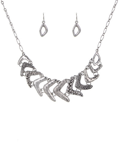 Abstract Patterned Worn Silver Necklace and Earrings Set - Lunga Vita Designs