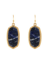 NATURAL STONE DANGLE EARRINGS | LAPIS