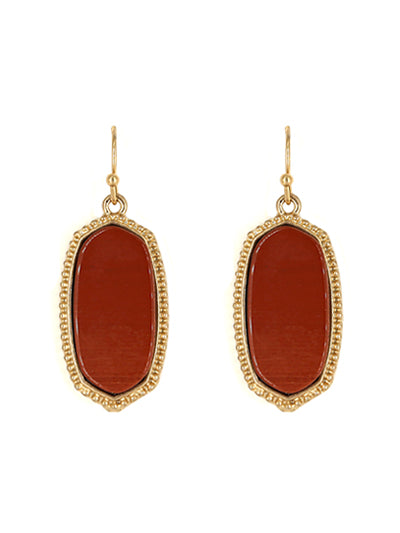 NATURAL STONE DANGLE EARRINGS | RED JASPER