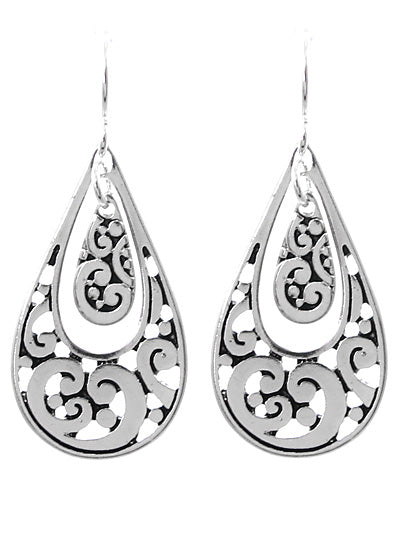 Double Teardrop Silver Dangle Earrings - Lunga Vita Designs