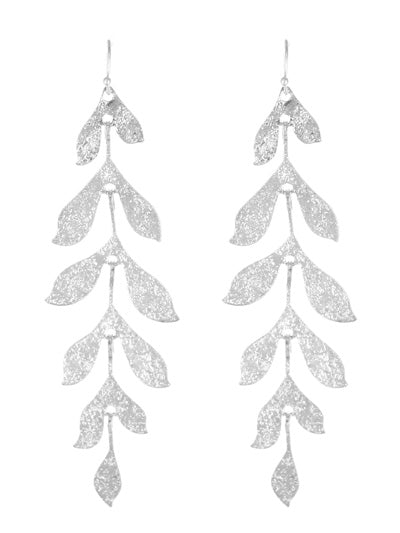 Long Leafy Matte Silver Dangle Earrings - Lunga Vita Designs