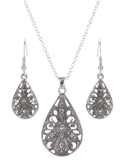 ANTIQUED SILVER TEARDROP FILIGREE NECKLACE SET