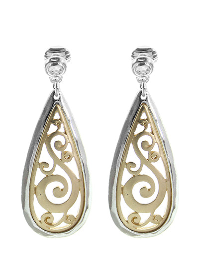 Filigree Two-Tone Dangle Earrings - Lunga Vita Designs