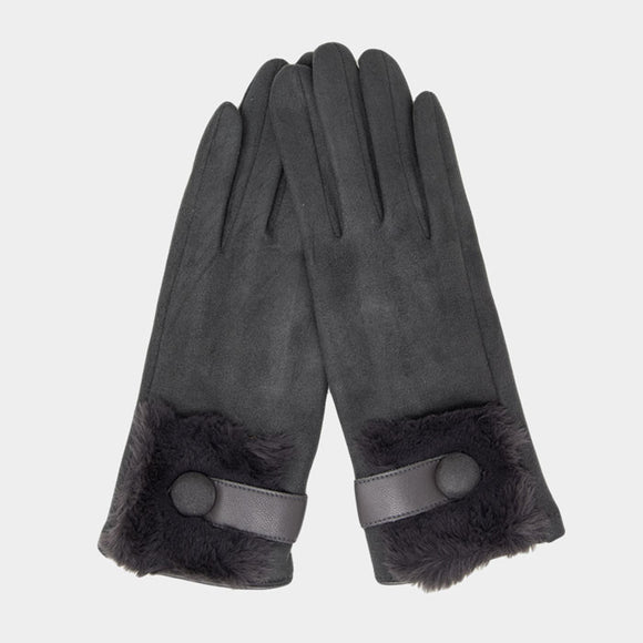 FAUX FUR SMART TOUCH GLOVES | GREY