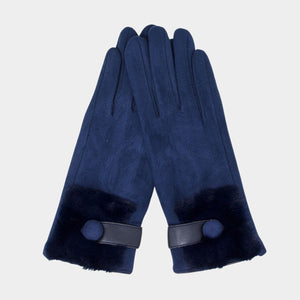 FAUX FUR SMART TOUCH GLOVES | NAVY