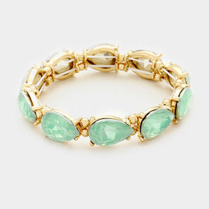 TEARDROP GEMSTONE STRETCH BRACELET - MINT OPAL