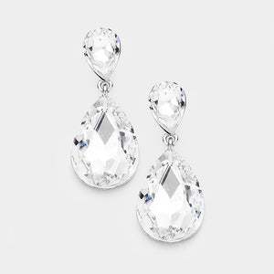 Classic Clear Teardrop Clip-On Earrings - Lunga Vita Designs