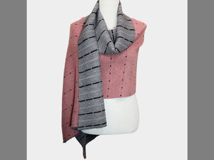 REVERSIBLE POLKA DOT KNIT SCARF | ROSE/GREY