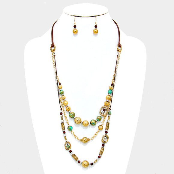 LAYERED 3 STRAND ANTIQUE METAL BEADED NECKLACE SET  - ANTIQUE GOLD