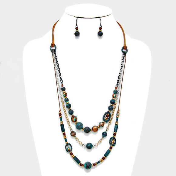 LAYERED 3 STRAND ANTIQUE METAL BEADED NECKLACE SET -PATINA