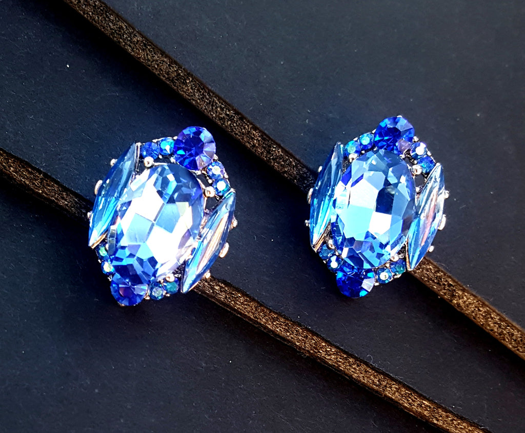 Faceted Crystal Post Earrings | Sapphire Blue - Lunga Vita Designs