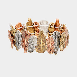 GOLD, SILVER. COPPER LEAF STRETCH BRACELET