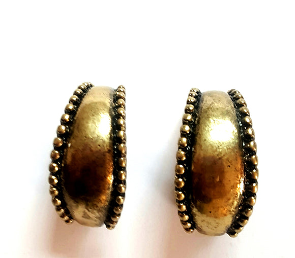 AGED GOLD HALF CIRCLE CLIP ON EARRINGS