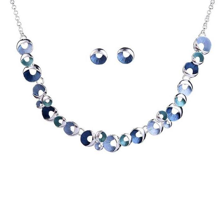 Circles of Blue, Aqua and Grey Silver Tone Necklace and Earrings Set - Lunga Vita Designs