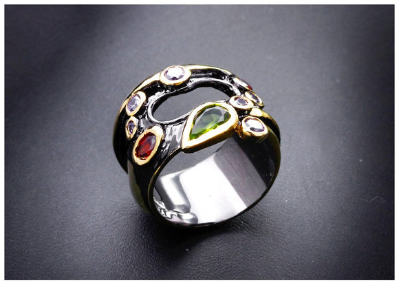 Gunmetal Ring with Mixed Colors | Size 7