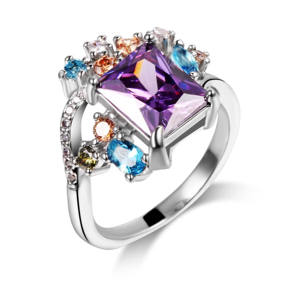 VIOLET  CRYSTAL ZIRCON RING