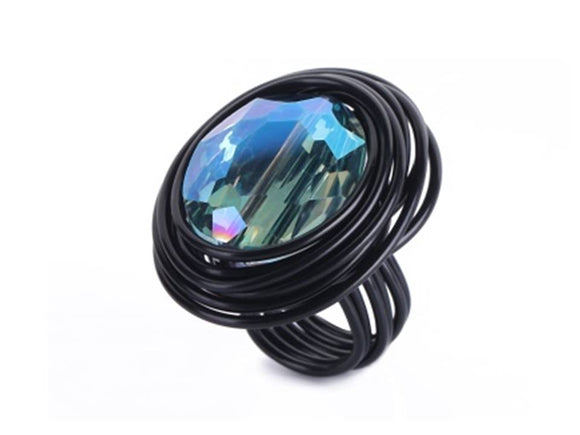 ANODIZED ALUMINUM OVAL CRYSTAL RING - BLACK