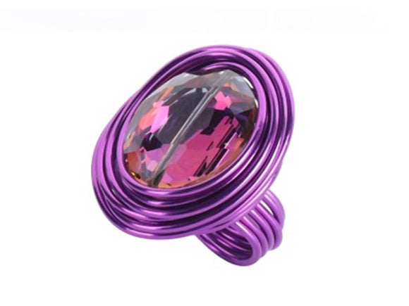 ANODIZED ALUMINUM OVAL CRYSTAL RING - PURPLE