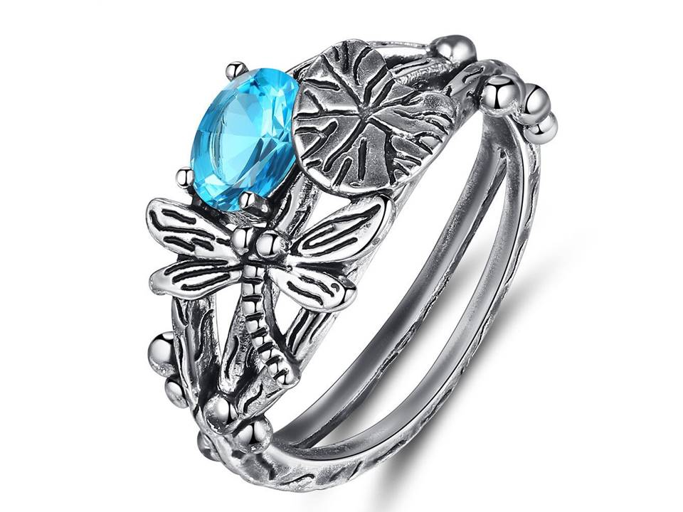 Dragonfly Ring - Aqua - Size 8 - Lunga Vita Designs